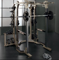 Hammer Strength Half Rack with Spotter Stands, 2- Safety Arms and 2- J Hooks-U