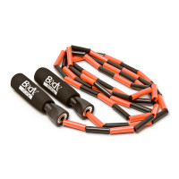 NYLON JUMP ROPE WITH PLASTIC BEADING, PLASTIC HANDLES WITH FOAM COVERING, 9' LONG